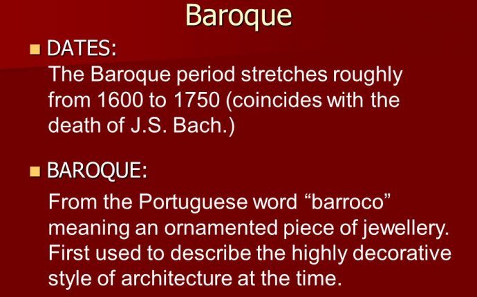 Baroque dates