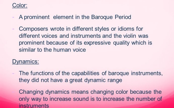 Baroque dynamics